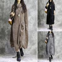Womens Long Sleeve Turtleneck Neck Corduroy Casual Loose Kaftan Baggy Maxi Dress