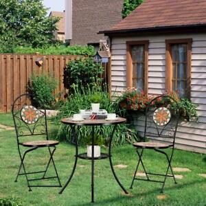 Mosaic Patio Table Folding Chair Furniture Bistro Set Outdoor Indoor Garden New