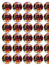 """Novelty 70's Party Silhouettes PRECUT 30 x 1.3"""" wafer paper cake toppers"""