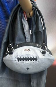 NEW Red24 Silver FOOTBALL PURSE Slimline Hand Bag+Whistle NFL playoffs Raiders