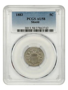 1883 Shield 5c PCGS AU58 - Great Type Coin - Shield Nickel - Great Type Coin