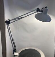 Vintage MId Century  LEDU SWEDEN Articulating ARCHTECT Clamp Lamp White