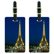 Paris - Eiffel Tower at Night Luggage Suitcase Carry-On ID Tags Set of 2