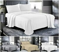 Egyptian Cotton Flat Sheet Double Super King Size 600TC Thread Count Bedding New