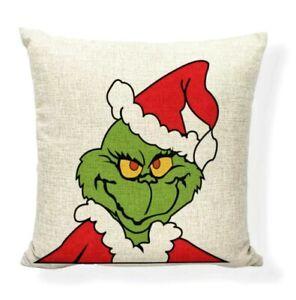 "18""x18"" Grinch Pillow Cover Case Dr Seuss Christmas Linen Throw Pillow"