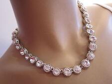 Damen Strass Collier Hals Kette Modekette kurz Kristall Silber Klar C9054