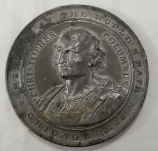 1892 Christopher Columbus 59mm white metal momento world's fair Chicago medal