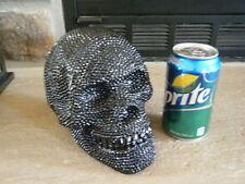 BLACK BEADED DIAMOND RESIN HUMAN SKULL PROP VERY BRIGHT SHINY HALLOWEEN HEAD!!