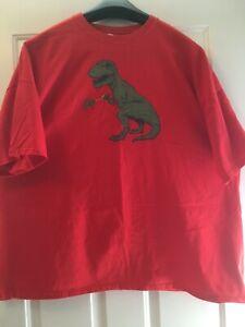 "Mens T Shirt Gildan ""Dinosaur w/ Grabber"" Red 4XL Crew neck Short Sleeve Cotton"
