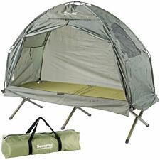 Semptec 2in1-Zelt mit Alu-Feldbett, 1200 mm Wassersäule, 193 x 78 x 160 cm