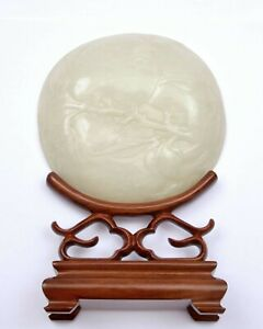 18/19th Century Chinese White Jade Carved Caving Plaque Wood Stand Persimmon Bat