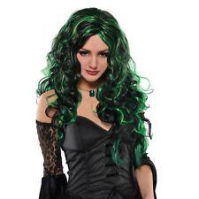 Noir & Vert Sorcière perruque Long Bouclés Halloween Adulte Femme Costume Robe Fantaisie