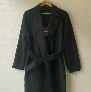 COUNTRY ROAD : SZ 12 belted wool coat jacket - black M [CR LOVE]