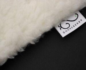 PRAM STROLLER SEAT LINER GOOSEBERRY Lamb Wool Universal Machine Washable Black