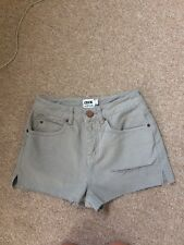 Asos Size 8 Hight Waist Grey Denim mini Shorts With Rips And Splits At Side