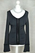 KAREN MILLEN Black ribbed stretch fit cardigan with flared cuff FITS UP TO 10