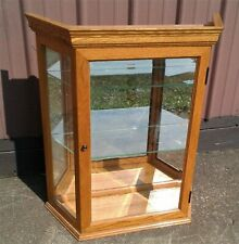 Vintage Oak Hanging or Counter Top Lighted Display Curio Cabinet w Beveled Glass