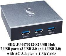 SIIG JU-H70212-S2 External USB Hub, 7 ports (3 USB 3 + 4 USB 2), with AC Adapter