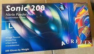 Gloves Sonic 200 NITRILE Powder Free Blue' 1xbox - 100 Pairs gloves: Large,