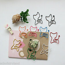 10Pcs Colorful Stationary Wrapped Cat Paper Clips Office Supplies Random Color