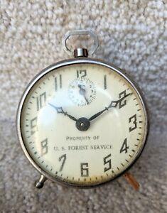 Vintage US Forest Service Wind Up Alarm Clock USFS