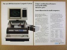 1982 IBM Instruments Computer System color photo vintage print Ad