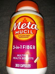 Metamucil Fiber 3-in-1 Psyllium Capsule Fiber Supplement 300 Capsules Exp 2024