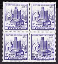 CHILE 1960 STAMP # 644 MNH BLOCK OF FOUR CENSUS