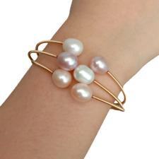 Freshwater Cultured Multi Color Rice Pearl Bangle Bracelet Adjustable
