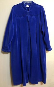 Cabernet 2X Blue Velour Full Zip Robe House Coat Midi Embroidered