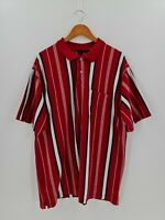 VINTAGE Puritan Polo Shirt Mens 2X-Large Red White Navy Striped Short Sleeve