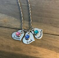 Child's Name Birthstone Mother's Day Necklace Custom Personalized Grandma gift