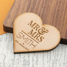Personalised Fridge Magnet Wooden Any Text Wedding Mr and Mrs Save The Date