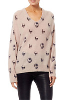 NWT Skull Cashmere Riley Skull V-Neck Cashmere Sweater Rose Size XS,S,M $288