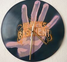 HEAVENS BASEMENT inspired  wall clock..popart..spray paint art..recycled records