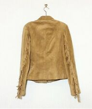 Tan Brown Suede Fringe Leather Vintage Jacket U.K Size 10