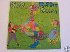 Vintage Old Mother Goose Framed Tray Jigsaw Puzzle Hollywood Recording Goose