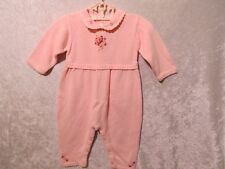Gymboree Embroidered Dainty Flower Pink Knit Romper Longall, 3-6 mos.