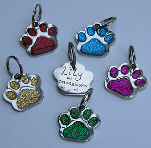 Identity Tag Hand Engraved Glitter Paw Shaped ID Markers Choice of Colour