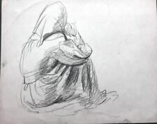 Figures, 4 Orig Drawings, Robert Von Neumann, Listed, 1949's, signed