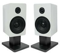 """2) Rockville RockShelf 54W White 5.25"""" Home Bookshelf Speakers+8"""" Speaker Stands"""