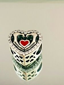 Genuine Silver Bracelet Charm - Red Heart in Hands Charm    #7/15