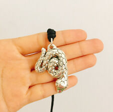 Large Snake Serpent Boa Rattle 2.5 Sterling Silver Necklace Pendant Jewelry