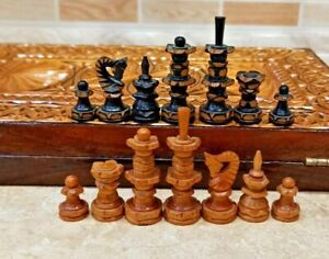 Soviet old Wood handmade carved Chess Set Russian Vintage USSR Antique