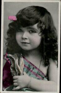 AK Kinder, Foto coloriert, Mädchen Portrait, Kleinformat