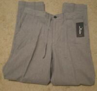 Marc Anthony Men's Linen Elastic Back Luxury Slim Gray Drawstring 36x30 Pants