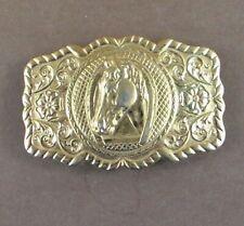 Vintage Horse Head Belt Buckle Bell Nickel Silver Solid Copper