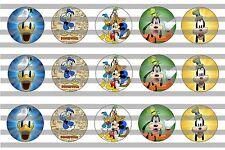 (60) Donald Duck & Goofy Bottle Cap Image Pre-Cut 1 inch