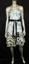 ANTHROPOLOGIE MOULINETTE SOEURS Blue/White Print Strapless A-Line Dress sz 2