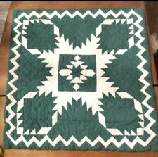 "Judi Boisson SHAM Americana STAR Green White 19"" Quilted Pillow Slipcover NEW"